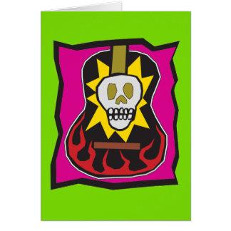 Day of the Dead Skul Guitar Green w/Purple Card