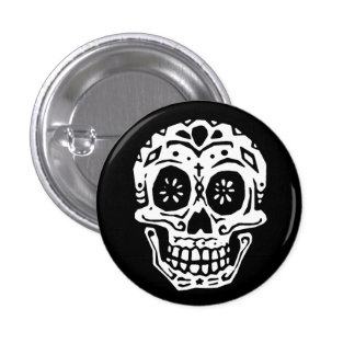 Day Of The Dead Skull 2 1 Inch Round Button
