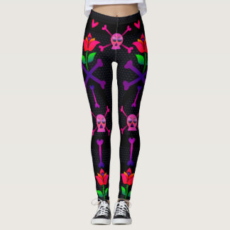 Day of the Dead Skull and Bones Leggings