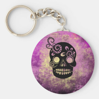 Day of the Dead Skull Basic Round Button Keychain