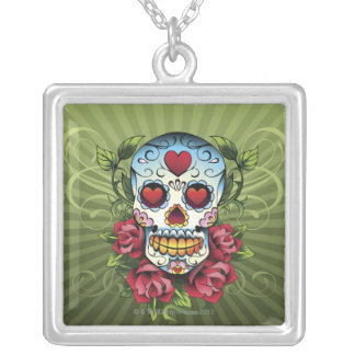 Day of the Dead Skull Silver Plated Necklace