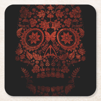 Day of the dead skull square paper coaster