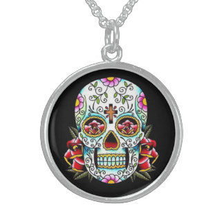 Day of the Dead Skull Sterling Silver Necklace