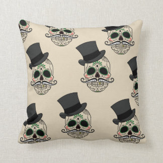 Day of the dead skull Tie by storeman Throw Pillow