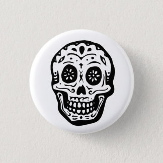 Day Of The Dead Skull-White 1 Inch Round Button