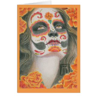 Day of the Dead Skull with Marigolds Card