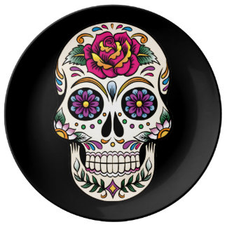 Day of the Dead Skull with Rose Plate