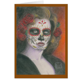 Day of the Dead Skull with Roses Card