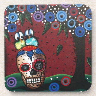 Day Of The Dead, Skulls, Birds, Mexican, Funny Art Drink Coasters