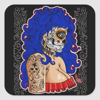 day of the dead sticker woman design