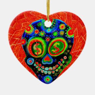 Day Of The Dead Sugar Skull Art Ceramic Heart Ornament
