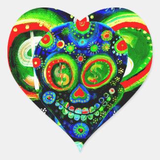 Day Of The Dead Sugar Skull Art Heart Sticker