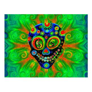 Day Of The Dead Sugar Skull Art Postcard