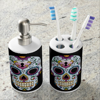 Day of the Dead Sugar Skull Blue Soap Dispensers