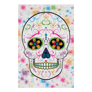 Day of the Dead Sugar Skull - Bright Multi Color Poster