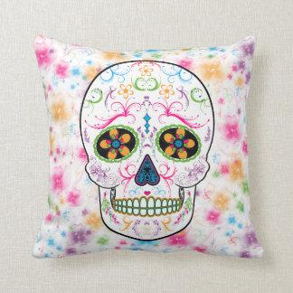 Day of the Dead Sugar Skull - Bright Multi Color Throw Pillow