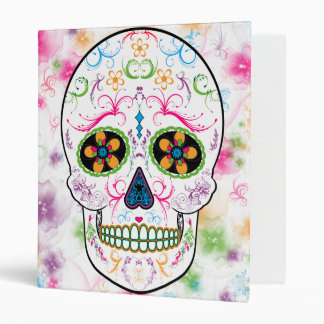 Day of the Dead Sugar Skull - Bright Multi Color Vinyl Binders