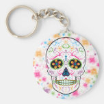 Day of the Dead Sugar Skull - Bright Multi Colour Basic Round Button Keychain
