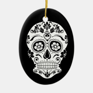 DAY OF THE DEAD SUGAR SKULL CERAMIC ORNAMENT