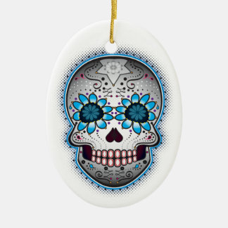 Day Of The Dead Sugar Skull Ceramic Oval Ornament