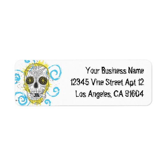 Day of The Dead Sugar Skull Comic Tattoo Design Return Address Label