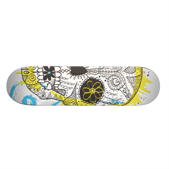 Day of The Dead Sugar Skull Comic Tattoo Design Skateboards