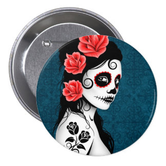 Day of the Dead Sugar Skull Girl - blue 3 Inch Round Button
