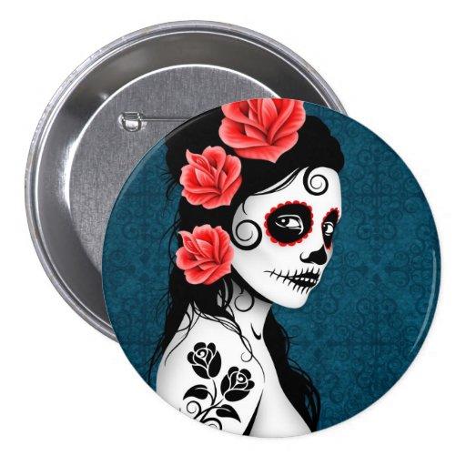 Day of the Dead Sugar Skull Girl - blue Pin