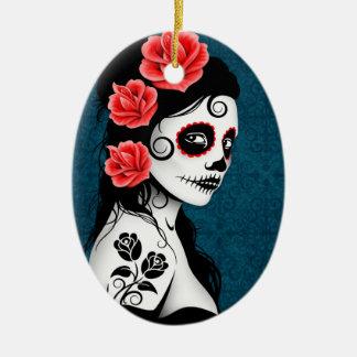 Day of the Dead Sugar Skull Girl - blue Ceramic Oval Ornament