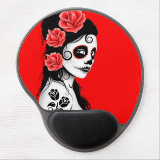 Day of the Dead Sugar Skull Girl - Bright Red Gel Mouse Pad