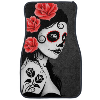 Day of the Dead Sugar Skull Girl Gray Car Mat