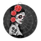 Day of the Dead Sugar Skull Girl - Grey Dartboard