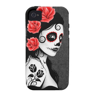 Day of the Dead Sugar Skull Girl - grey iPhone 4/4S Cases