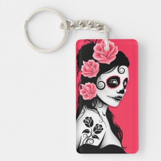 Day of the Dead Sugar Skull Girl - Pink Keychain