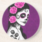 Day of the Dead Sugar Skull Girl - purple Coaster