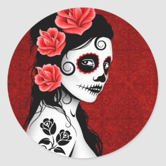 Day of the Dead Sugar Skull Girl - red Stickers