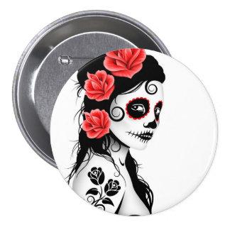 Day of the Dead Sugar Skull Girl - white 3 Inch Round Button