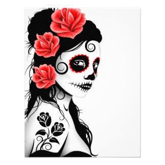 Day of the Dead Sugar Skull Girl - white Personalized Invitation