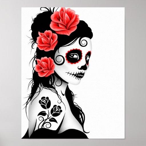 Day of the Dead Sugar Skull Girl - white Poster
