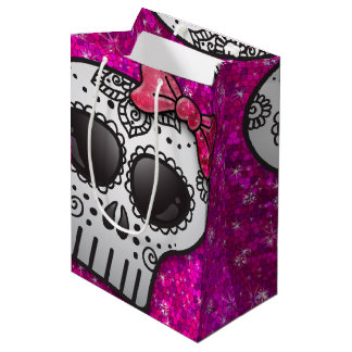 Day of the Dead Sugar Skull Girly Hot Pink Glitter Medium Gift Bag