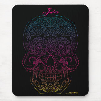Day of the Dead Sugar Skull Halloween Art Rainbow Mouse Pad