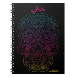Day of the Dead Sugar Skull Halloween Art Rainbow Notebook