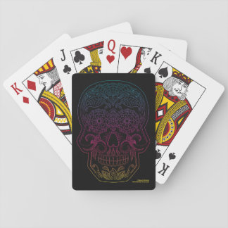 Day of the Dead Sugar Skull Halloween Art Rainbow Playing Cards