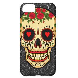 Day of the Dead Sugar Skull Hearts and Flowers Cover For iPhone 5C