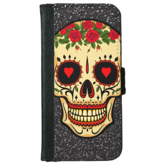 Day of the Dead Sugar Skull Hearts and Flowers iPhone 6 Wallet Case
