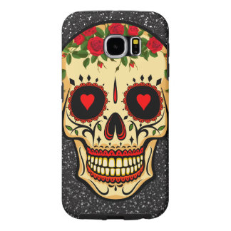 Day of the Dead Sugar Skull Hearts and Flowers Samsung Galaxy S6 Case