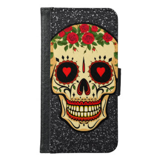 Day of the Dead Sugar Skull Hearts and Flowers Samsung Galaxy S6 Wallet Case