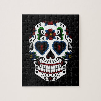 Day of the Dead Sugar Skull in Blue Puzzle
