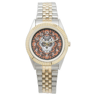 Day of the dead sugar skull in Halloween colors Watch