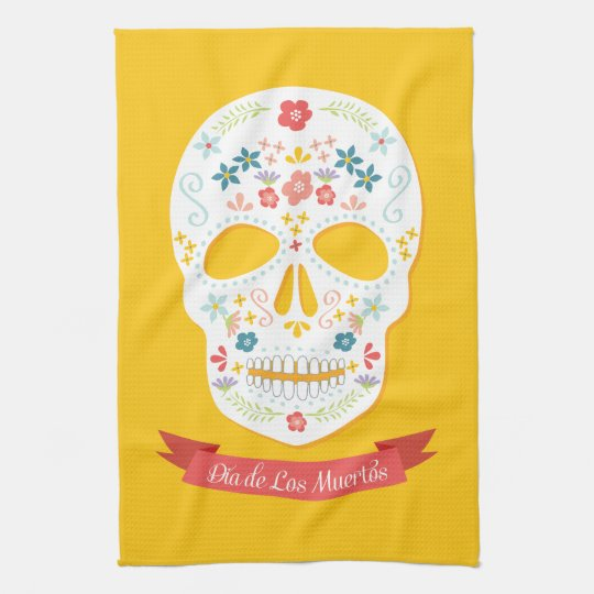 Day of the Dead Sugar Skull kitchen towel - yellow
